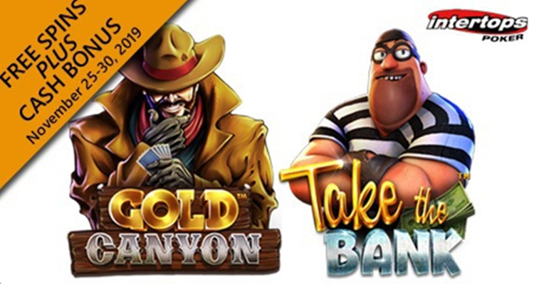Intertops Poker launches promo via Betsoft's new Take the Bank and Gold Canyon slots