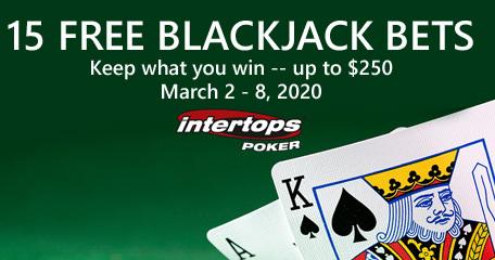 Free blackjack bets up for grabs this week at Intertops Poker