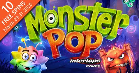 Earn spins on Betsoft Gaming's new Monster Pop online slot via Intertops Poker