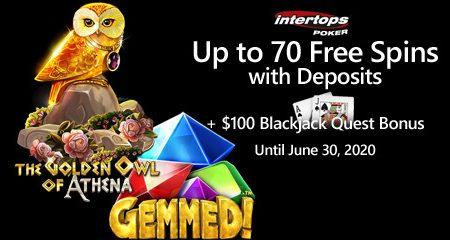 Intertops Poker offering blackjack bonus and extra spins on Betsoft games starting today