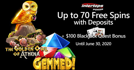 Intertops Poker offering blackjack bonus and extra spins on Betsoft games starting today