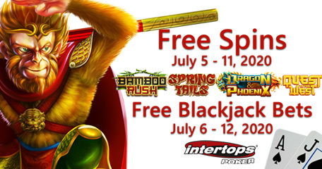 Intertops Poker offering new spins deal plus blackjack special this week