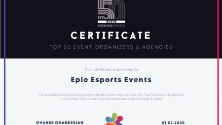Epic Esports Events ranked 15th among the 50 best event companies in the world by Global Eventex Awards
