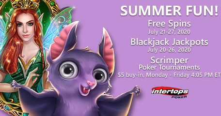 Intertops Poker introduces summer fun with extra spins deal, blackjack jackpots and $5 poker events