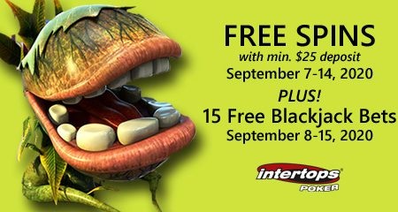 Extra spins and blackjack offer this week at Intertops Poker