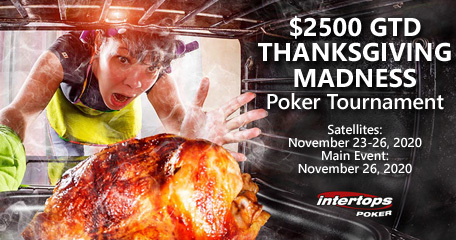 Intertops Poker announces $2500 Thanksgiving Madness Poker Event with Satellites