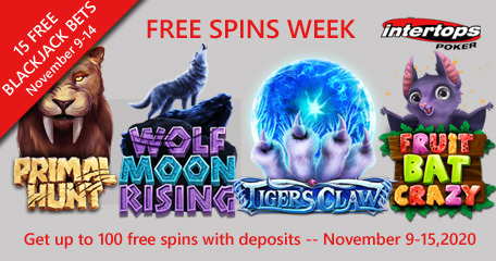 Intertops Poker featuring extra spins and blackjack bets this week