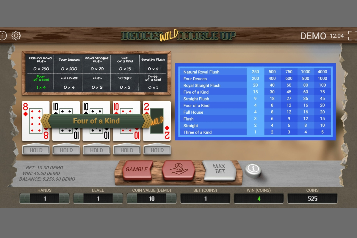 Deuces Wild Double Up Video Poker