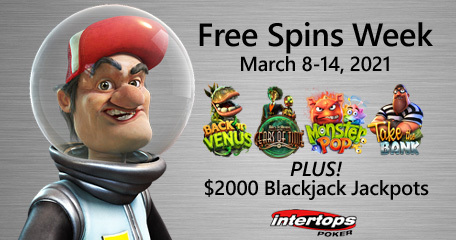 Extra spins week is back again at Intertops Poker with four popular online slots by Betsoft Gaming
