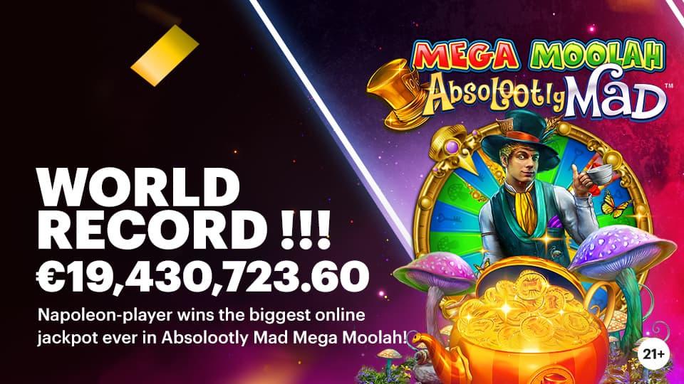 WORLD record! Biggest online jackpot ever falls at Napoleon. Belgian player wins 19,430,723.60 euros