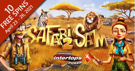 Intertops Poker featuring extra spins on Betsoft's online slot Safari Sam 2
