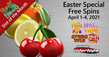 Special Easter holiday bonuses on offer at Intertops Poker including 80 online spins