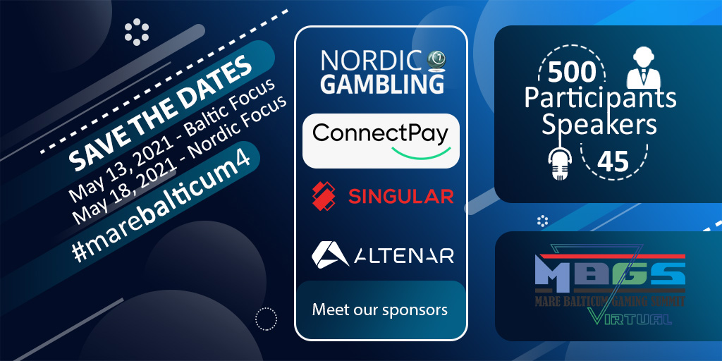 MARE BALTICUM Gaming Summit announces its main sponsors, Nordic Gambling, Altenar, Singular and ConnectPay