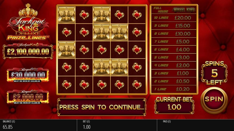 Blueprint Gaming revolutionises Jackpot King with Prize Lines™ mechanic