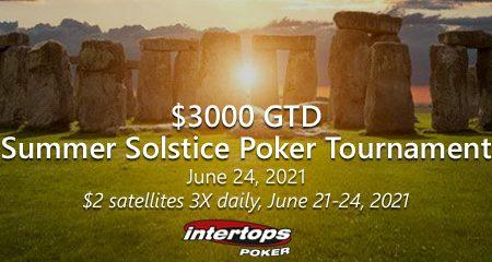Intertops Poker begins satellites for upcoming $3k Summer Solstice Poker tournament on June 24