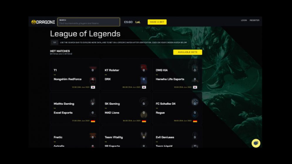 Dragoni.gg launch eSports betting site complete with form analysis & team stats