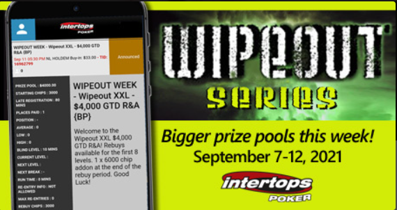 Intertops Poker increases prize pool for popular online poker Wipeout tournaments